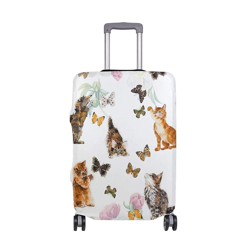 に向かってに対処するかんがいスーツケースカバー 荷物カバー 猫 蝶 遊び 伸縮素材 ラゲッジカバー 防塵 擦り傷防止 トラベルアクセサリ 旅行