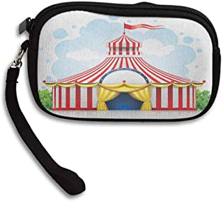 Circus Small Wallet Ladies Striped Strolling Circus Marquee Tent with Flag Artwork Holiday Leisure Time Fun W 5.9