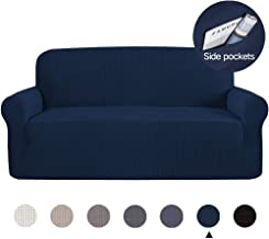 Marchtex Sofa Slip Cover for Leather Couch Covers for 3 Cushion Couch Lounge Cover Kids Sofa Covers Stretch Sofa Cover Set Furniture Covers for Moving, Couch Sofa Slipcover, Navy