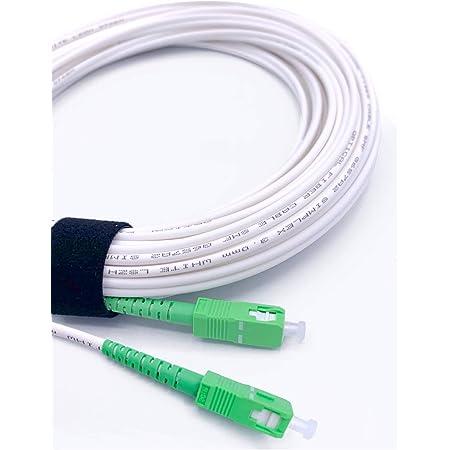 Elfcam® - Câble/Rallonge Fibre Optique {Orange SFR Bouygues} - Jarretière Simplex Monomode SC-APC à SC-APC - Blindage et Connecteur Renforcée - Perte Très Fiable - Blanc, 20M
