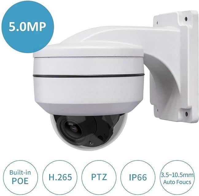 Cámara de PoE PTZ w/Soporte de Montaje en Pared LEFTEK Ultra HD 50 MP (2592x1944 píxeles) Mini cámara PTZ Zoom w/Full Metal Bracket Exterior Soporte Interior