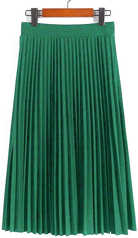 FSDFASS Skirt Pleated Skirt Summer Autumn Fashion High Waist Solid color MidCalf Skirt AllMatch Swing Elastic Waist Midi Skirt