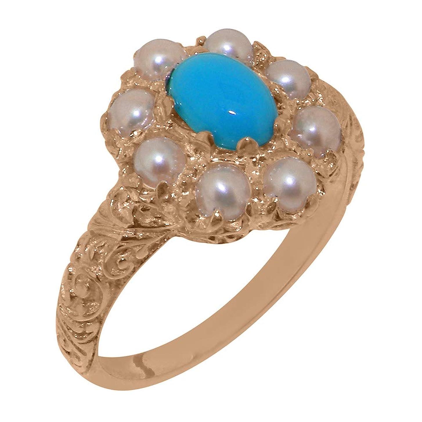 カンガルー先のことを考えるブレス英国製(イギリス製) K9 ピンクゴールド 天然 ターコイズパール レディースー クラスター リング 指輪 各種 サイズ あり