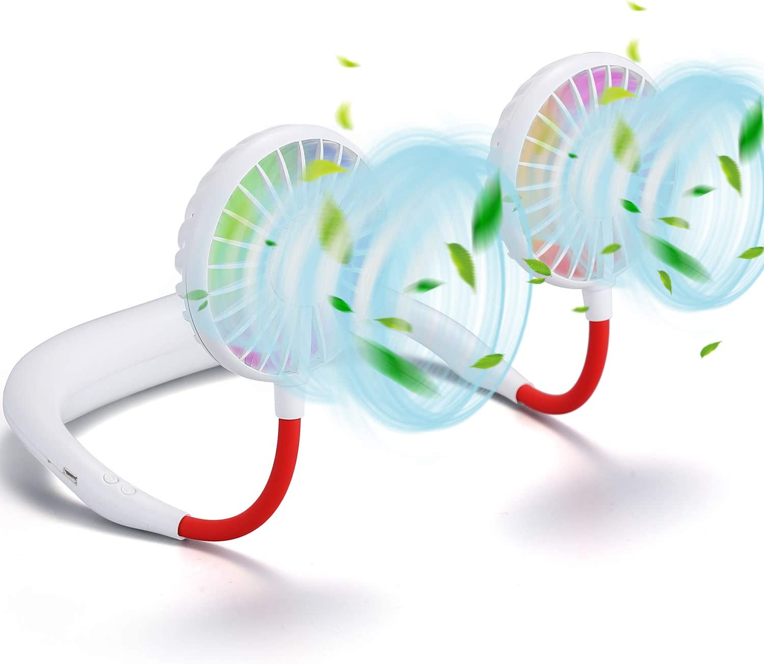Portable Hanging Neck Sports Fan - 2600mAh Led Light Hands Free USB Rechargeable Personal Wearable Neckband Fan Battery Operated 3 Level Air Flow Mini Necklace Fan Headphone Design Cooling Around Head fan for Camping