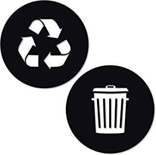 Recycle and Trash Sticker Logo Style 2 (2.75in x2.75in) Symbol to Organize Trash cans or Garbage containers and Walls - XSmall Black Gloss Vinyl Decal Sticker