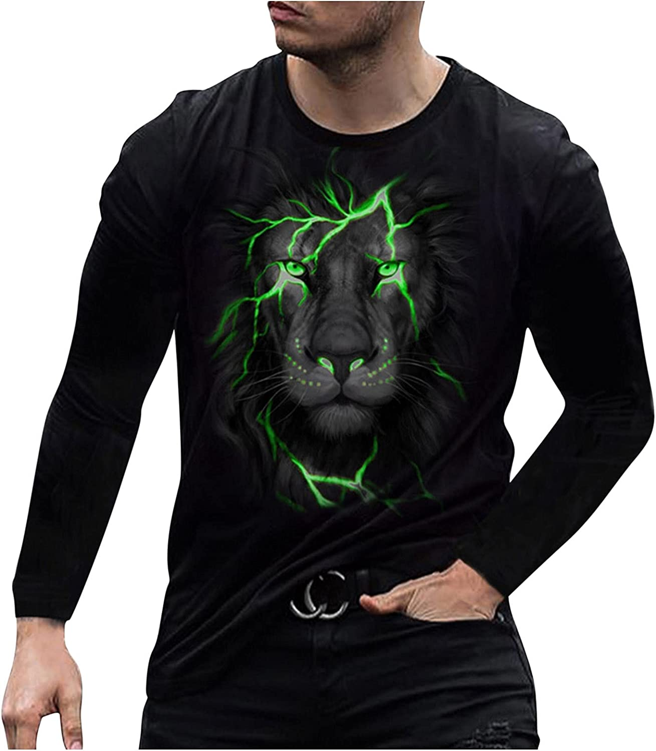Tops for Men Blouse 3D Digital Printed Crew Neck T-Shirt Slim Fit Novelty Graphic Tops Summer Casual Basic Comfy Tee