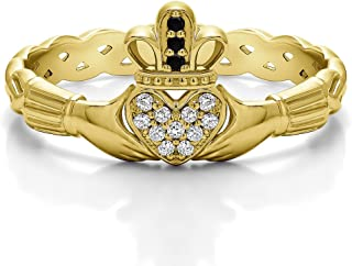 14k Yellow Gold Black + White Diamond .07 CT Celtic Claddagh Wedding Ring with Pave Heart (Sizes 3 To 15)