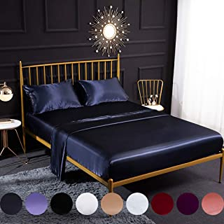 Omelas 4pcs Navy Blue Silky Satin Sheets Set Queen Size Soft Microfiber Solid Smooth Silky Bed Sheets Modern Luxurious Bedding Collection, 16