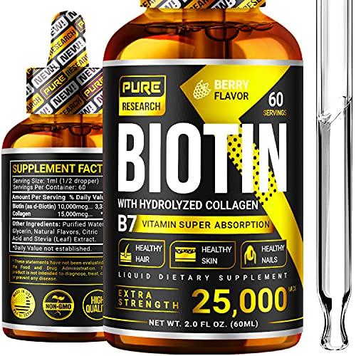 Biotin & Collagen 25,000mcg Hair Growth Liquid Drops, Supports Strong Nails, Glowing Skin, Healthy Hair Growth, 3X More Absorption Than Capsules & Pills