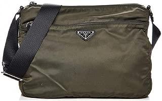 Bandoliera Mimetico Green Tessuto Nylon Saffian Leather Trim Crossbody Bag 2VH563