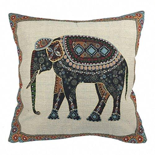 Luxbon Funda de Cojín Almohada Elefante Mascota de India Lino Duradero Decoración para Sofá Cama Coche 18x18' 45x45 cm