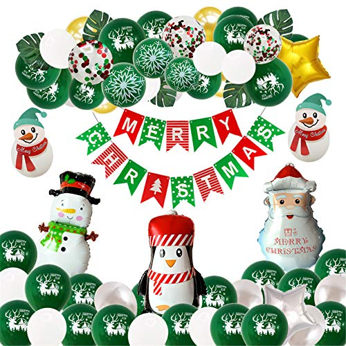 SXFYMWY Christmas Balloons Garland Arch Santa Claus Elk Foil Balloons DIY New Year Party Decor Party Inflatable Helium Balloon Kids Toy