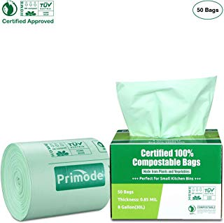 Primode 100% Compostable Bags, 8 Gallon (30L) Food Scraps Yard Waste Bags, Extra Thick 0.85 Mil. ASTMD6400 Biodegradable Compost Bags Small Kitchen Trash Bags, 50 Count Certified by BPI and TUV EU