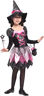 Binse Witch Costume for Girls Kids Halloween Dress Up Costumes with Hat