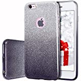 Compatible iPhone 6, Compatible iPhone 6s, MILPROX Shiny Glitter Sparkly iPhone 6s Case/iPhone 6 Case - Black+Silver