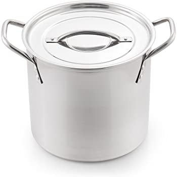 McSunley 606 Medium N Cook Stockpot, 8 Quart, Silver Stainless Steel All Purpose Prep and Canning Bowl