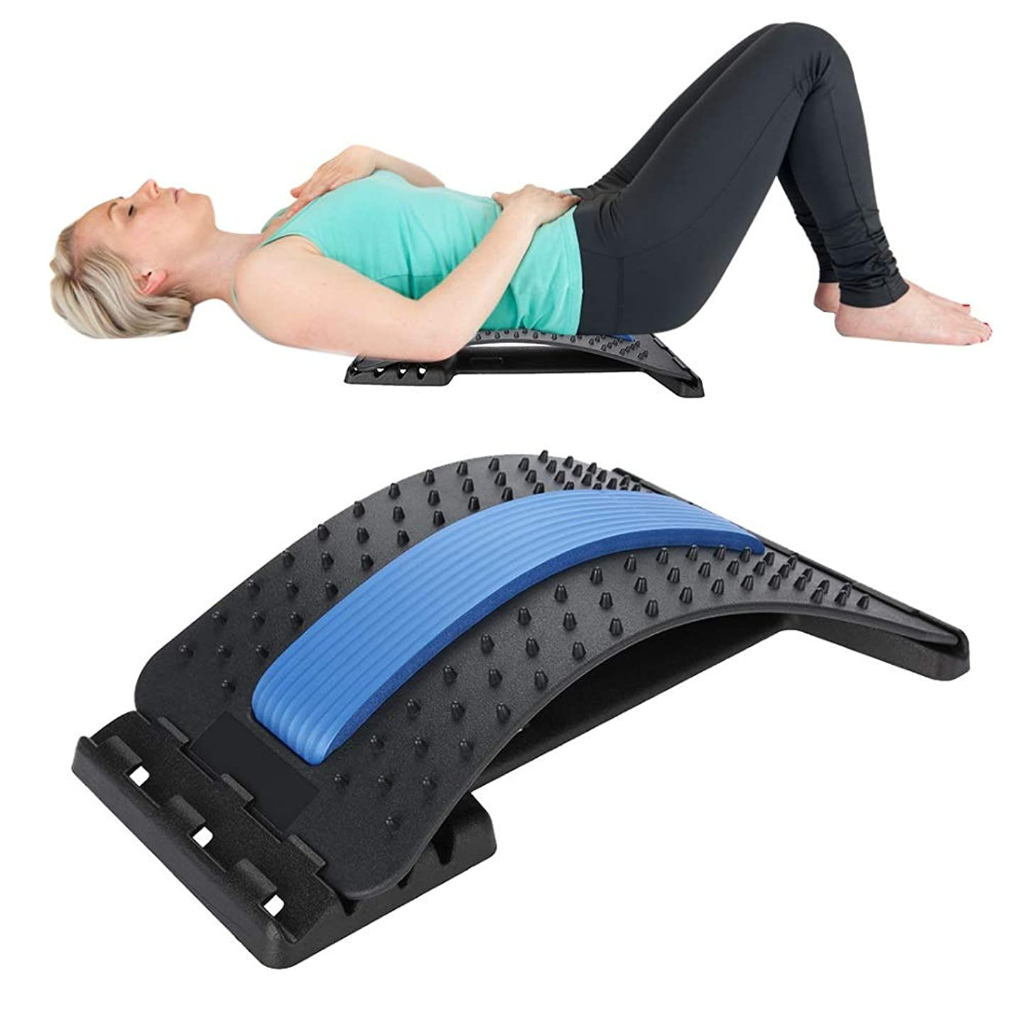 つかむブロンズ余計な腰部背部伸張器装置、背部マッサージャー背部腰痛のための背部腰痛サポート牽引の伸張のリラックスした脊椎減圧枕
