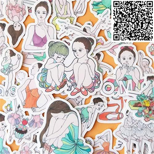 BLOUR 40 Stück Ballett Mädchen tanzen Aufkleber kleine Größe Cartoon Scrapbooking dekorative koreanische Stil Aufkleber für Laptop Kinder
