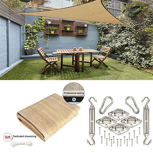 CHUDAN Wasserdichte Sonnencreme-Terrassenüberdachung-Dreieck-Markise 95% UV-Block, Gartenteich Sonnenschutz-Segel, 5x5x5m mit Edelstahl-Kit Outdoor Garden Patio Party (Sand),5 * 5 * 5m
