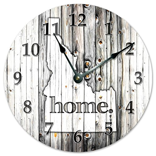 "IDAHO STATE HOME CLOCK Huge 15.5"" to 16"" Wall Clock Black and White Rustic Clock"