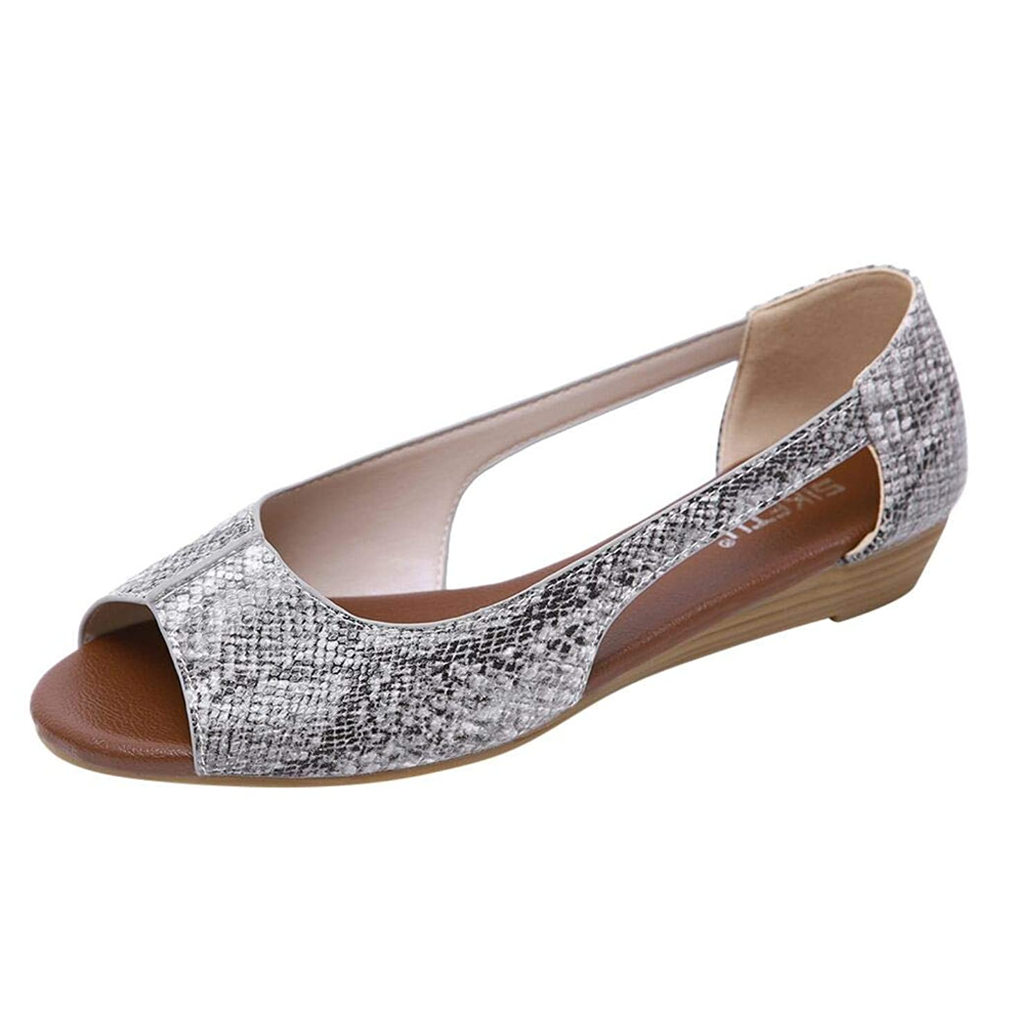 Women's Comfortable Solid Sied Cut Out Slip On Peas Shoes Casual Peep Toe Work Walking Flat Sandals JHKUNO