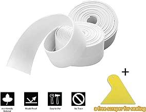 2 Pack Caulk Strip and 1 Pc Sealant Tool Kit, Branger PE Sealing Tape Self Adhesive Caulking Sealant Tape Waterproof/Mildew Proof for Bathroom, Kitchen, Bathtub and Wall (38mm x 3.2m x 2 Roll)- White