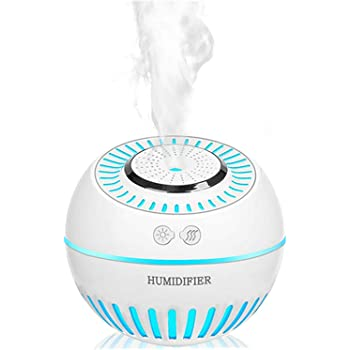 DCMEKA Cool Mist Baby Humidifier, Ultrasonic Aroma Humidifier with 7 Color Lights Aromatherapy Diffusers Auto Waterless Shut Off for Yoga, Spa, Baby