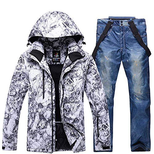 Aitry Herren Skianzüge,Verdicken Schneeanzüge + Hosen,Winddicht Wasserdicht Snowboard Kleidung Set Winter Outdoor Warm Sport