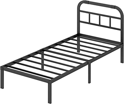 Twin Bed Frame with Headboard, ZIYOO 14 Inch Bed Frame Platform Mattress Foundation/Box Spring Replacement - 2500LBS Metal Slat Bed Frame (Twin)
