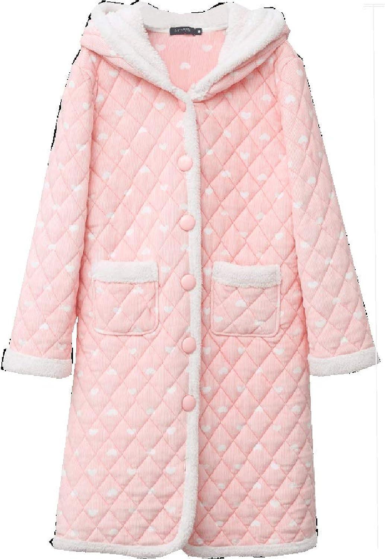 Bathrobe Morning Robe Gown Shawl Bath Towel Cotton Sweet Warm Nightgown Pajamas   Girl   Pink (Size   XL)