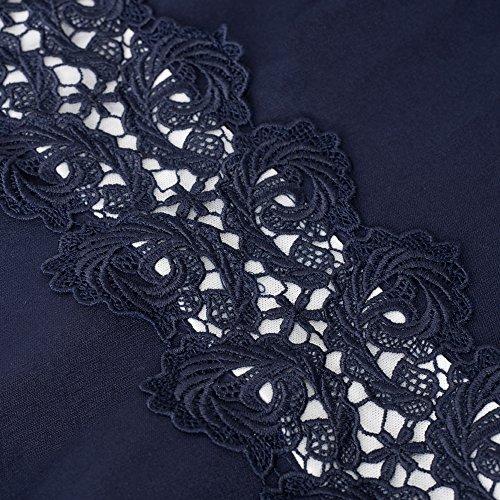 HOMEYEE HOMEYEE Damen Vintage Rundhalsausschnitt ärmellosen Blumen Bestickt knielangen Cocktailkleid UKA079 (EU 40 = Size L, Dunkelblau)