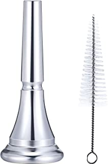 Leinuosen 2 Pieces French Horn Mouthpiece Kit Includes 1 Silver Plated French Horn Mouth Piece and 1 Mouthpiece Cleaning Brush