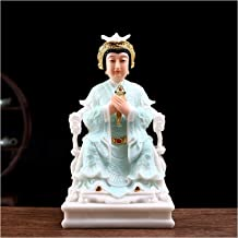 """Feng Shui Statues 15"""" Artificial Jade Buddha Statues for Home Hand-Carved Yoga Zen Decor Exquisite Light Blue Clothes Chin..."""