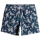 MaaMgic Shorts de Baño para Hombre Shorts de Playa Traje de Bañode 4-Way Stretch Secado Rápido para Vacaciones-14 cm, Paisley-Verde,L