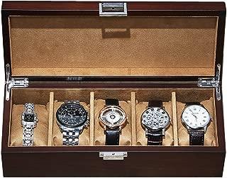 LCLZ 5-Slot Watch Box European Watch Storage Box Wooden Watch and Jewelry Display Men and Women Wooden Watch Box Vintage Bracelet Jewelry Storage Box