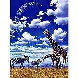 DIY 5D Diamante Pintura Cielo azul prado animales cebra jirafa Taladro redondo punto de cruz, bordado, artesanía para adultos, niños, para decoración del hogar