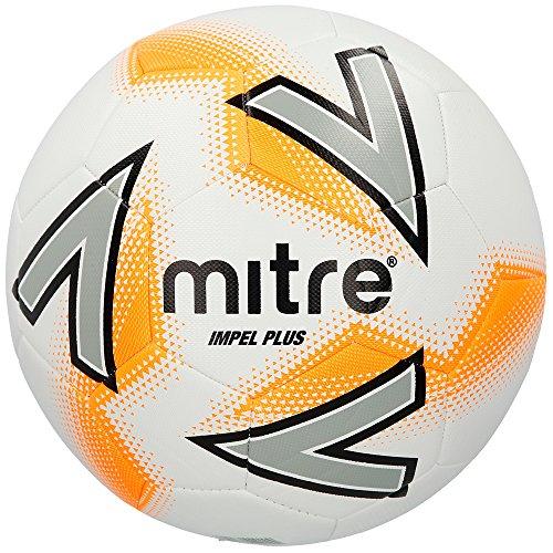 Mitre Impel Plus Ballon de Football Mixte Adulte, Blanc Argent Orange, Taille 5