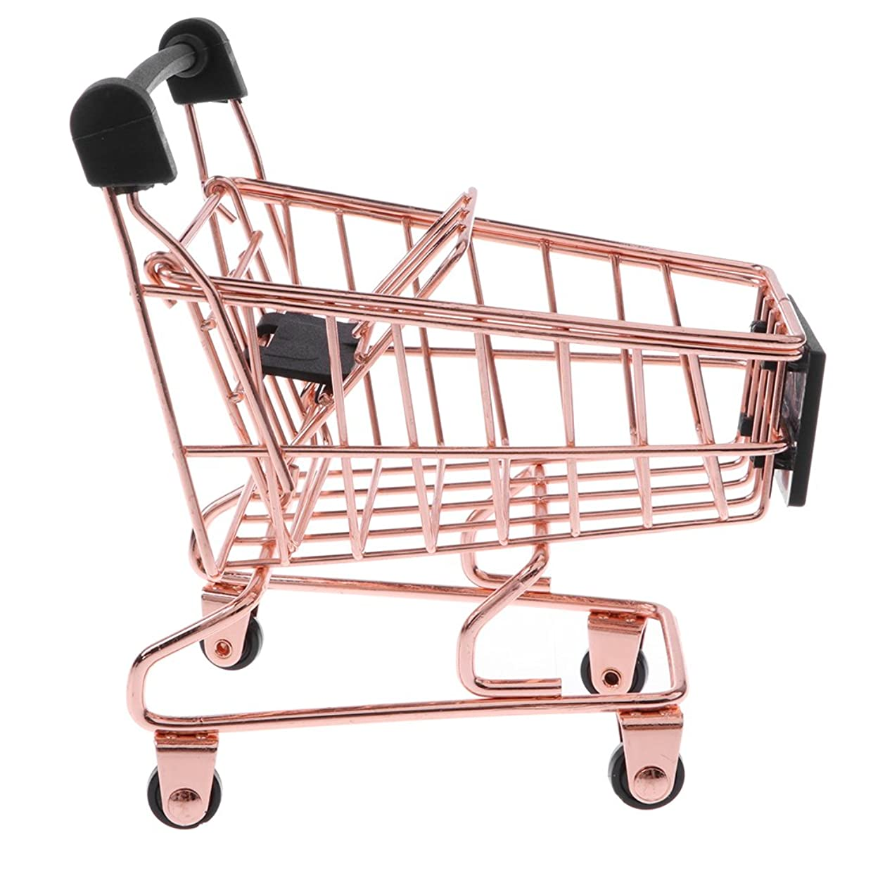 落ち着いた愚かな優雅な全2サイズ選べる ミニショッピングカート 買い物かご 子ども ごっこ遊び ふり遊びおもちゃ 贈り物 ローズゴールド - 11.5 x 8.5 x 12 cm