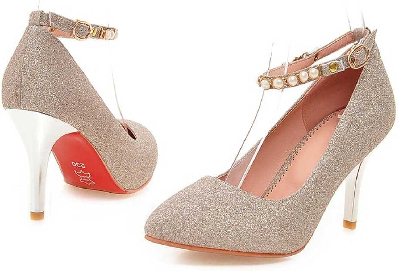 Frauen High Heels PU Pailletten Sexy Fashion Buckle Spitze Stiletto Heels Braut Hochzeit Schuhe Pumps Goldene Absatzhhe 8,5 cm,S