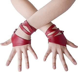 Women Half Palm Fingerless PU Leather Night Bar Band Up Punk Gloves
