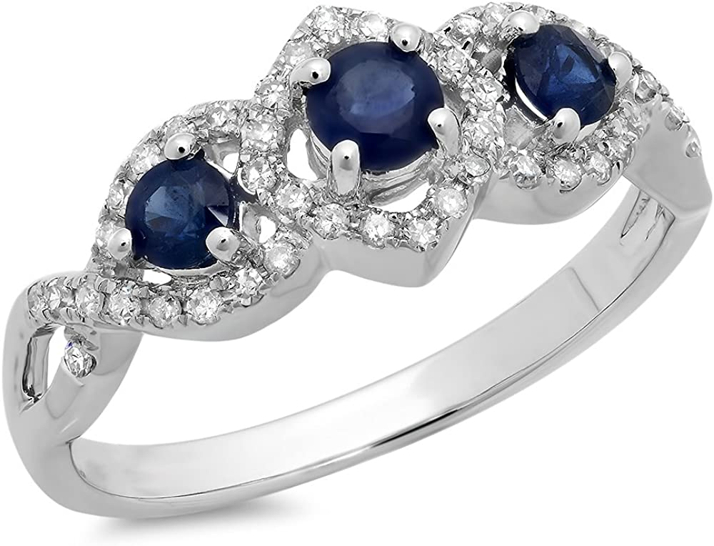 Dazzlingrock Collection 10K Gold Round Blue Sapphire & White Diamond Ladies Bridal Split Shank Vintage 3 Stone Engagement Ring