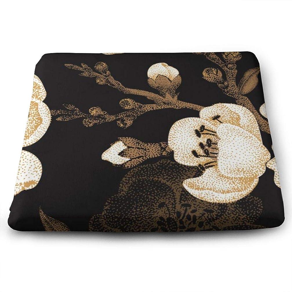 リネン羊深い座布団 梅の花 クッション 低反発 通気性 ふわふわ 洗える オフィス 車用 自宅用