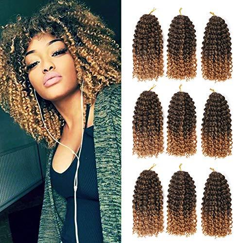 GX Beauty 9 Bundles/Lot Marlybob Crochet Braids Hair 8Inch Synthetic Ombre Braiding Hair Extensions Small Afro Kinky Curly Twist Braid Hair(T1B/27#)