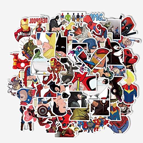WYDML Superhero Funny Emoji Pack Anime Phone Case Maleta Laptop Etiqueta Impermeable 50Pcs