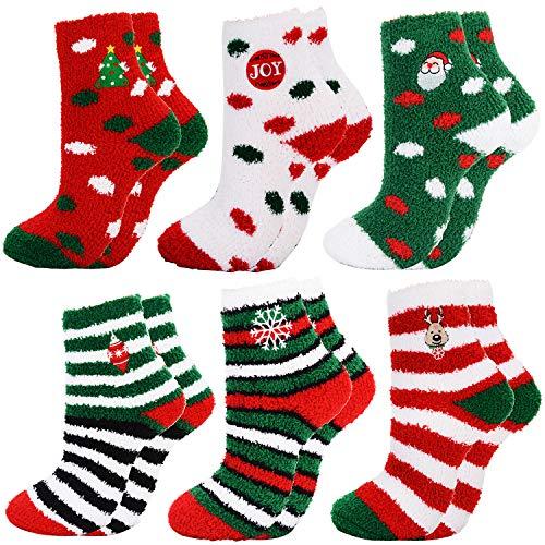 Christmas Socks,Aniwon 6-Pair Xmas Fuzzy Cozy Slipper Socks Winter Warm Thick Home Socks For Women Girls