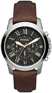 Fossil Mens Quartz Watch, Black Chronograph Display and Leather Strap - FS4813IE , Brown
