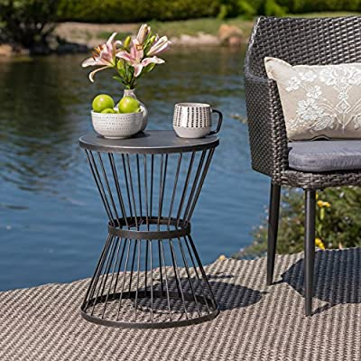 """Christopher Knight Home Lassen Outdoor 16"""" Iron Side Table, Matte Black"""