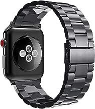Fintie Bracelet pour Apple Watch 42mm 44mm Série 5/4/3/2/1 - Bracelet de montre en Acier Inoxydable Wrist Band Montre Strap Remplacement avec Métal Fermoir, Noir