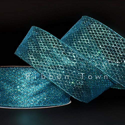 Naturegreen Park - 5 Yards Mermaid Blue Green Peacock Diamond Glitter Sheer Wired Ribbon 2 1/2'W - Confetti Craft Ribbon Seasonal Gifts and Decorating Your Home