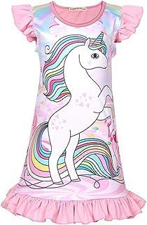 per bambine a forma di unicorno Confezione da 2 camicie da notte a maniche corte multicolore, 18 mesi - 9 anni Coralup
